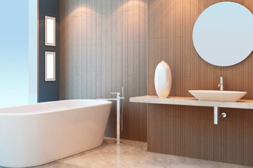 Modern bathroom with circular mirror